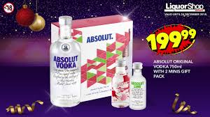 750ml absolut original vodka with 2 minis gift pack