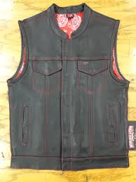mens leather club vest red paisley with red stitching