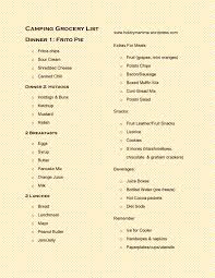 hobbymamma so many hobbies so little time camping grocery list page 0