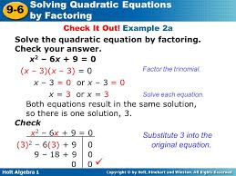 example 2a solve the quadratic equation by factoring check your answer