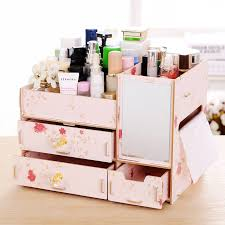 makeup organizer wood. new l size diy wood cosmetic organizer with mirror tissue box 31*21*23cm makeup