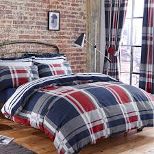charlotte thomas carson check printed polycotton reversible duvet cover set blue red super king linens limited