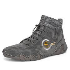 <b>IZZUMI Fashion Men</b> Casual Leather Shoes Round Toe Flat Heel ...