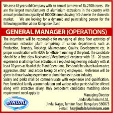 Jobs In Jindal Aluminium Limited Vacancies In Jindal Aluminium