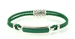 david yurman green exotic stone bar station in woven leather bracelet