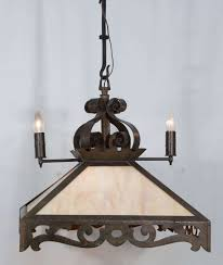 slag glass chandelier for early 1900s combination of two light gas and four light electric wrought