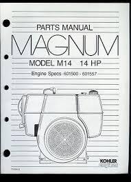 kohler magnum engine models m18 18hp m20 20hp parts manual rare original factory kohler magnum m14 14hp engine parts manual