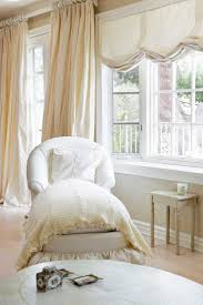 White Romantic Bedroom Design and Decorating Ideas : Love the relaxed roman  shades with the drapes!