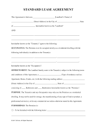 Standard Rental Agreement Free Standard Residential Lease Agreement Template PDF Word 1