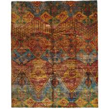 vintage indian sari silk hand knotted rug for