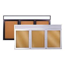 enclosed bulletin board w header three doors outdoor boards canada