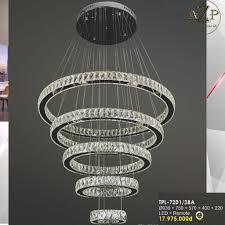 Đèn Thả Trần Nhập Khẩu Dòng Cao Cấp Remote Điều Khiển- PHA LÊ / LED 5 tầng  tròn 930/750/570/400/220mm