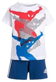 adidas kids clothing. adidas performance spiderman set-print t-shirt-white/blue/bold orange kids clothing o