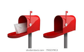 mailbox. Contemporary Mailbox A Set Of Mailboxes With A Closed Door Raised Flag An Open On Mailbox