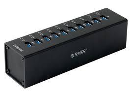 <b>Orico</b> A3H10-BK <b>10</b>-<b>Port</b> Super-Speed <b>USB 3.0 Hub</b> - Black - A3H10 ...