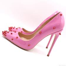 fashion women pumps pink patent leather studded spikes point toe high heels cone heel shoes sandals thin heel mens boat shoes loafers for women from