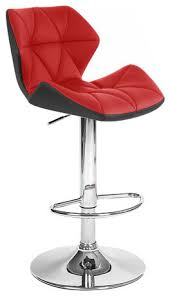 Vandue Corporation - Spyder Contemporary Adjustable Bar Stool, White/Red - Bar  Stools and