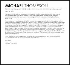 Cover Letter Sample For Supervisor Position Shift Supervisor Cover Letter Sample Cover Letter