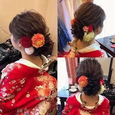 和装髪型 セミロング ヘアアレンジ フェミニンhair Salon Stella Mai