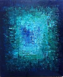 hold for brcishere abstract art oil original painting ocean art ocean abstract painting turquoise blue sapphire blue the abyss