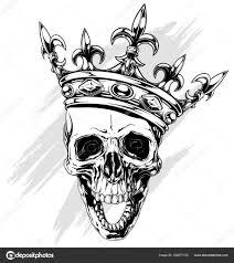 Grafické Lidská Lebka S Králem Koruna Stock Vektor Gbart 162877152