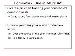 Homework Due In Monday Create A Pie Chart Tracking Your