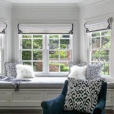 bay window master bedroom.  Bay Master Bedroom Bay Window Bench With Navy Greek Key Roman Shades For L