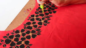 Embroidery Design Links Fabric Painting Design For Red Kurti Suit Liquid Embroidery Design Free Hand Painting
