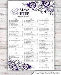 Wedding Seating Chart Rush Service Purple Rustic Peacock Wedding Seating Chart Reception Poster Digital Printable File Hbc148