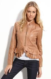 hinge rust mink ruffled leather er jacket product 2 2216204 442953815