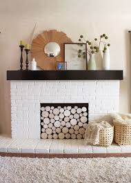 diy how to creat a faux log summer front painted white brick fireplace with stacked log imitation summer front
