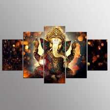 hindu god ganesha elephant 5pcs painting printed canvas wall art home decorative on ganesh canvas wall art with hindu god ganesha elephant 5pcs painting printed canvas wall art