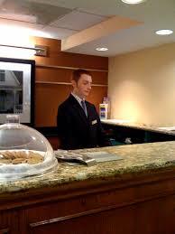front desk in a hampton inn hotel in new york usa