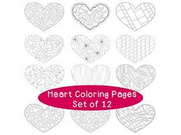 Heart Valentines Day Printable Coloring Pages Pdf Set Of Etsy