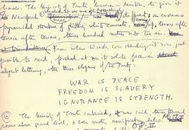 the very weird handwriting of very famous authors all caps for emphasis we bet texting george orwell would be very overwhelming