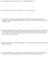 standard form linear equations word problems worksheet forms of
