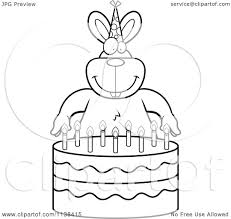Small Picture Outlined Birthday Cake For Coloring Book Stock Vector Art Black