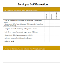 Employee Evaluation Checklist Template Template For Employee Self Evaluation Printable Schedule