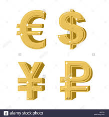 Set Of Golden Symbols Money Russian Ruble Euro European Cash Stock