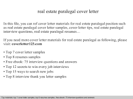 Paralegal Cover Letter Samples Real Estate Paralegal Cover Letter
