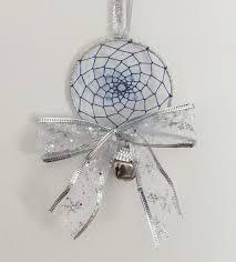 Dream Catcher Christmas Ornament Christmas dreamcatcher Christmas Blue and Silver Dreamcatcher 32