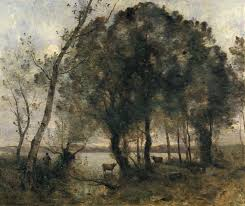 oil painting reion of corot the lake