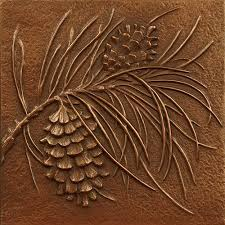 decorative wall tiles. 回 Tile O Phile Pine Cone (Decorative Wall Tiles): Cold Cast Copper Decorative Tiles A