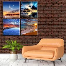 Bring modern art museum vibes to your living room with this abstract piece of wall art. 4pcs Set Seaside Landscape Canvas Painting Living Room Bedroom Wall Art Decor Buy On Zoodmall 4pcs Set Seaside Landscape Canvas Painting Living Room Bedroom Wall Art Decor Best Prices Reviews Description