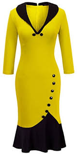 Homeyee Womens V Neck Ball Fishtail Pencil Dress Ub27