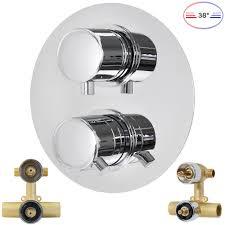 Duschset Komplett Thermostat Unterputz Umsteller 2 Wege Rund