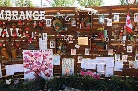 the remembrance wall at the community healing garden in las vegas saay
