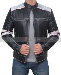 stripe leather jacket men