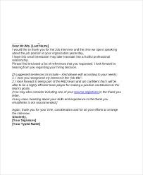 Email Job Thank You Letter After Interview Format