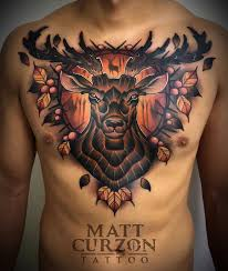 Deer Chest Tattoo The Dark Forest Best Tattoo Design Ideas